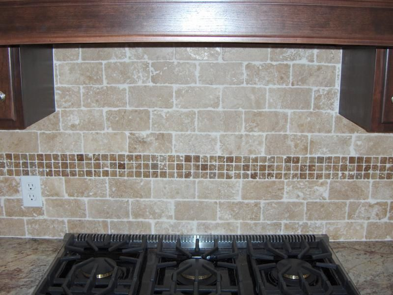 Kitchen tile backsplash on pinterest travertine above cabinet deco - Backsplash designs travertine ...