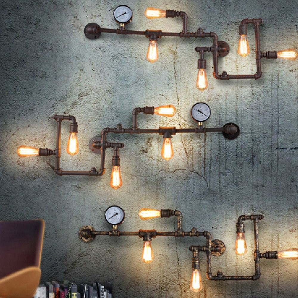 retro industrial lighting fixtures. Industrial Steampunk Wall Lamp Retro Light Rustic Pipe Fixtures With Bulbs Lighting A