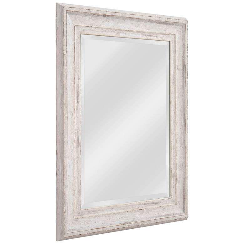 Warren Distressed White Wood 25 1 4 X 31 1 4 Wall Mirror 62f78 Lamps Plus In 2021 Distressed Mirror Frame Wooden Mirror Frame White Wall Mirrors Distressed white wood mirror