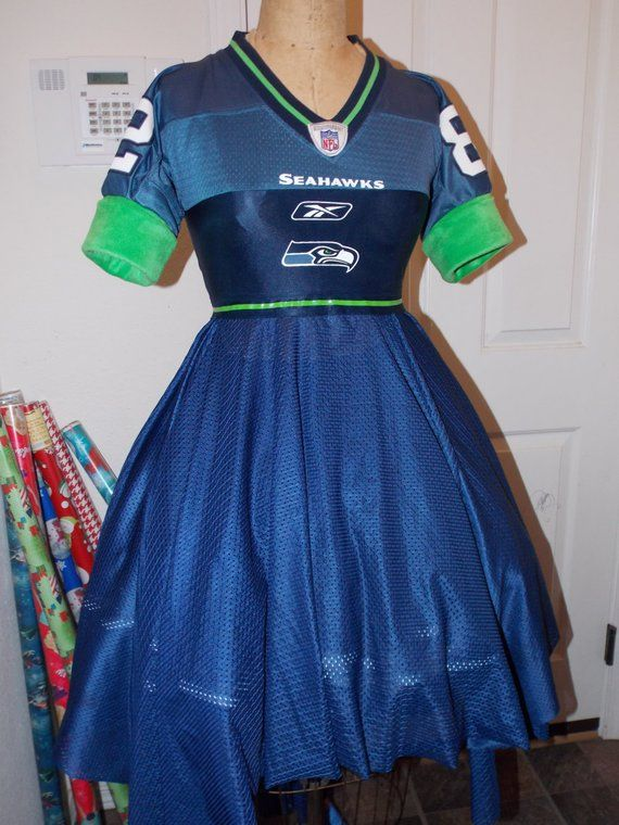 fc241968 Custom Made to Order Seattle Seahawk Upcycled Jersey Dress ...