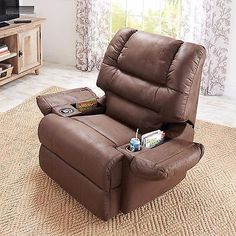 New Brown Rocker Recliner Cup Holder Lazy Chair Seat Barcalounger Boy Furniture