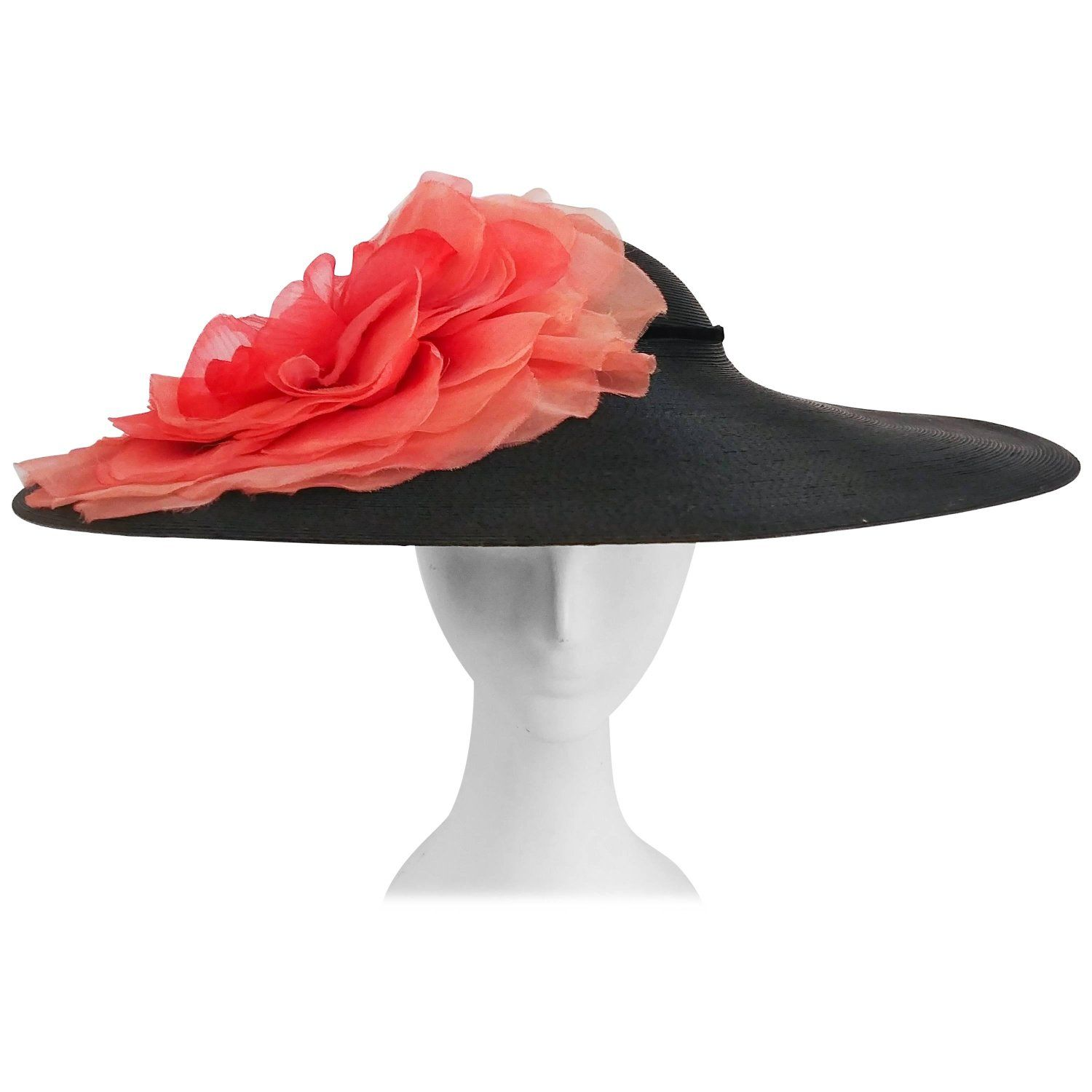 1950s Wide Brim Hat w  Large Flower  61f6a40fe33a