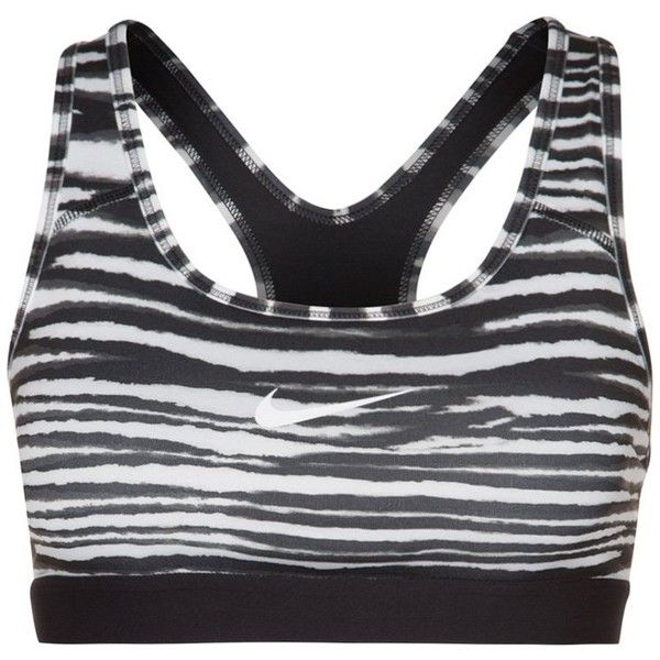 Nike Performance CLASSIC TIGER Sports bra/white (39 AUD) ❤ liked on Polyvore featuring sports, sports bra, tops, workout wear and black