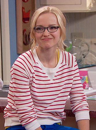 Maddie's red striped sweatshirt on Liv and Maddie.  Outfit Details: https://wornontv.net/56682/ #LivandMaddie