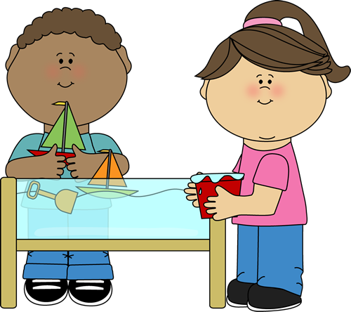 kids playing at a water table clip art for schedules pinterest rh pinterest com