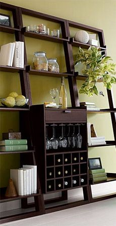 Sloane Leaning Wine Bar And Bookcase Set By Crate And Barrel Bar