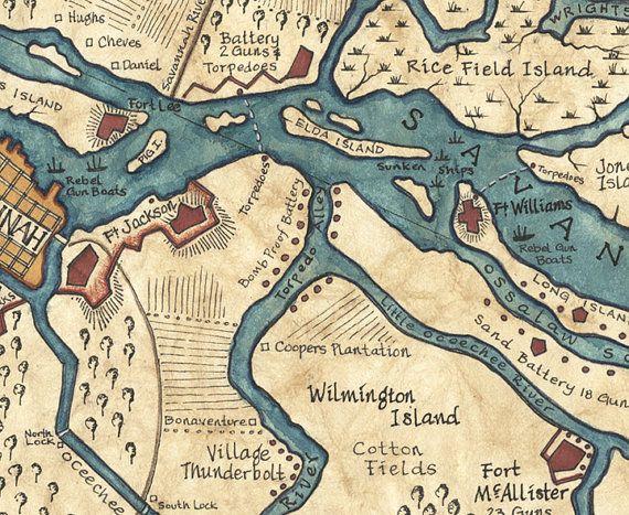 Savannah Harbor Map Art c.1864 11