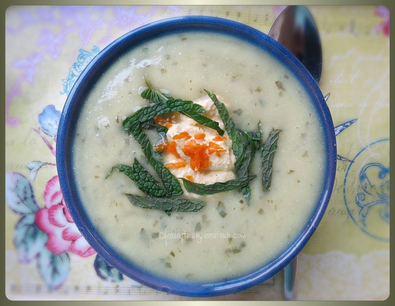 Mint & Cauliflower Soup w Orange Cream - simple, surprising & vegan :-)
