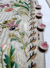 Button detail, embroidered Waistcoat, 1775-85