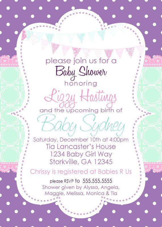 Baby Girl Shower Invitation Purple Aqua By