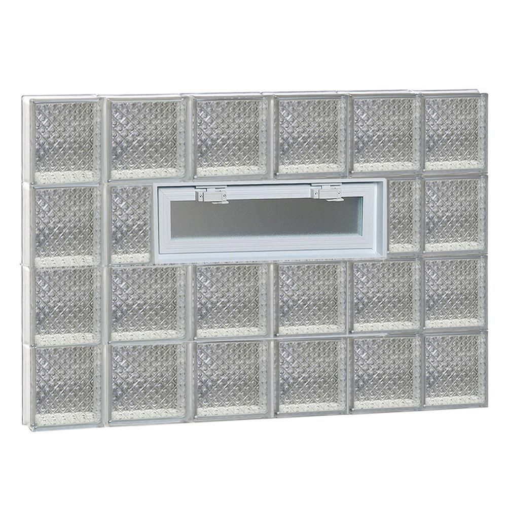 Clearly Secure 42 5 In X 31 In X 3 125 In Frameless Diamond Pattern Vented Glass Block Window 4432vdp Glass Block Windows Glass Blocks Glass Replacement