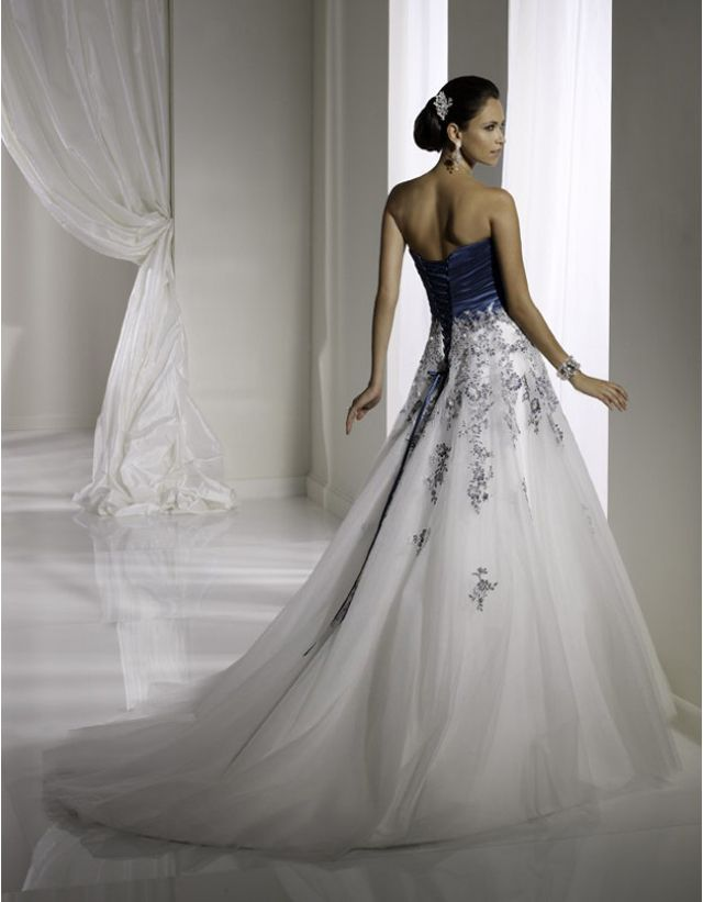 Midnight blue wedding dress blue and white wedding for Silver and white wedding dresses