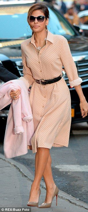 Eva Mendes, who unveiled a portion of her collection on GMA's this morning said she wanted to dress 'real women' with her sweetly-printed dresses, pussy-bow blouses and soft pants