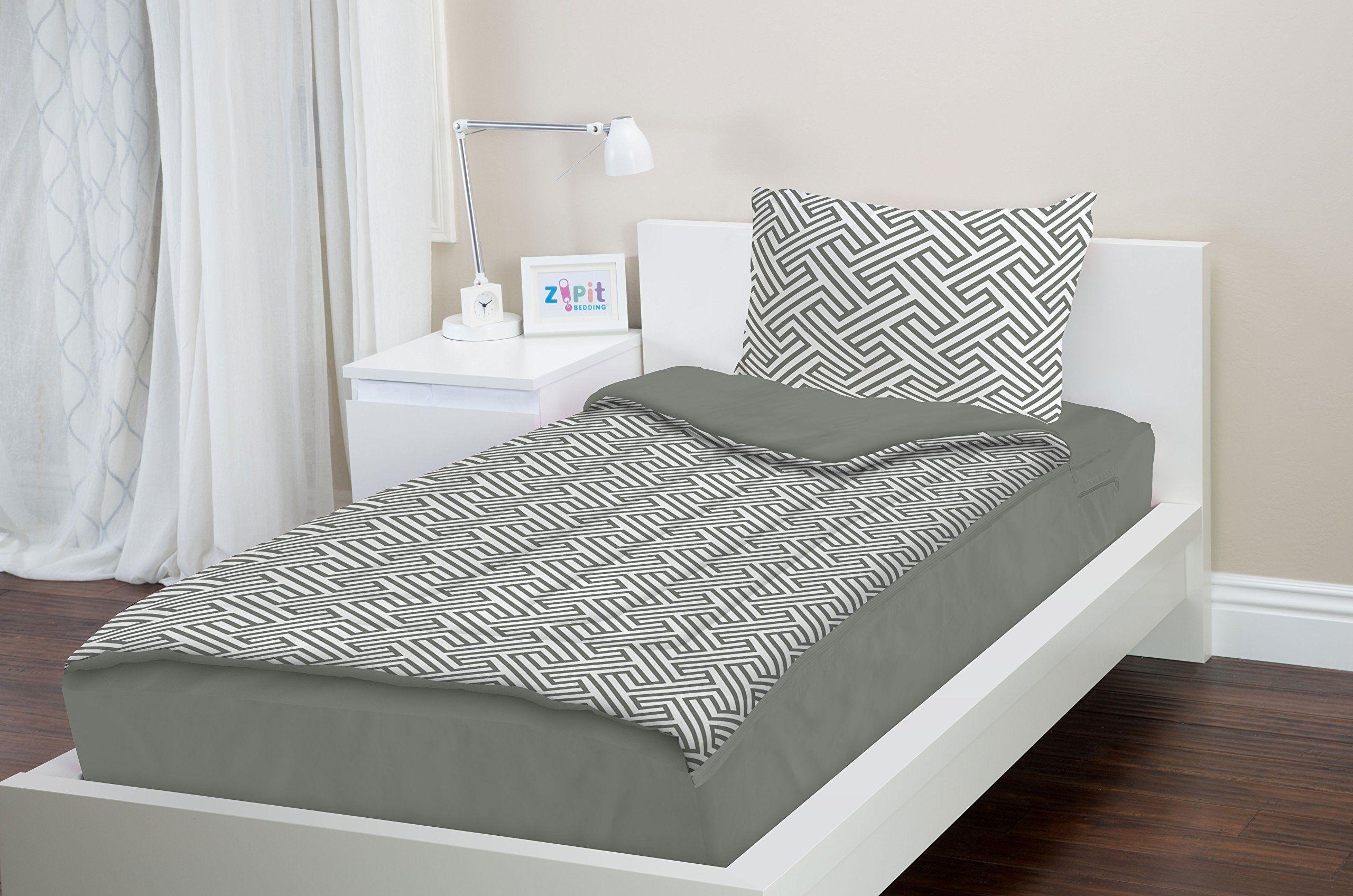 Amazon Com Zipit Bedding Set Full Gray Geometric Zip Up Your