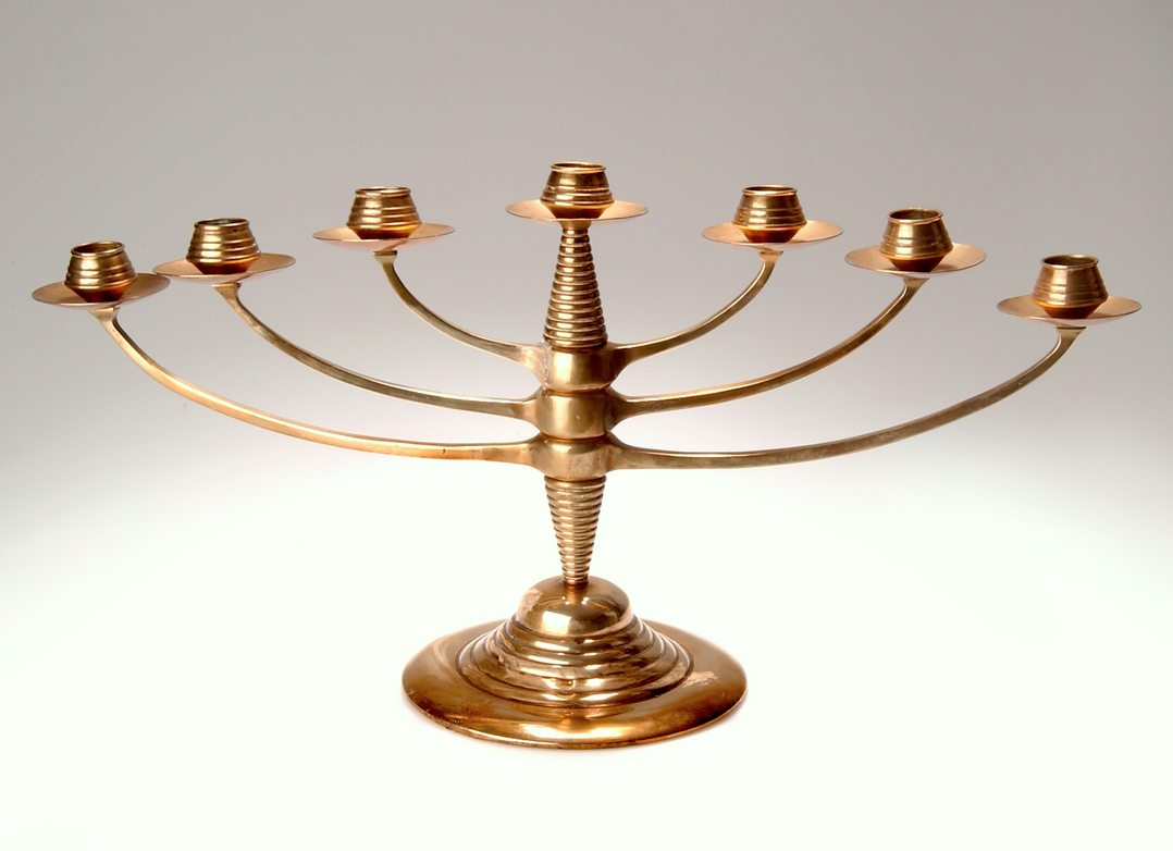 BRUNO PAUL Candelabra, c. 1904, with three rotating arms, manufactured by K. M. Seifert & Co., Dresden-Löbtau. Brass and cast iron, H: 28 cm  |  SOLD $3,666 Germany, 2003