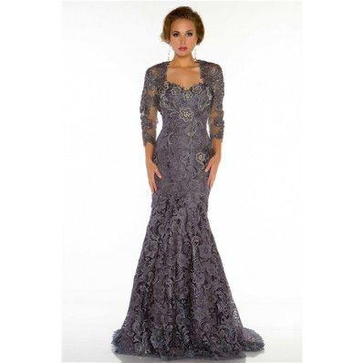 Long sleeve charcoal grey lace dress