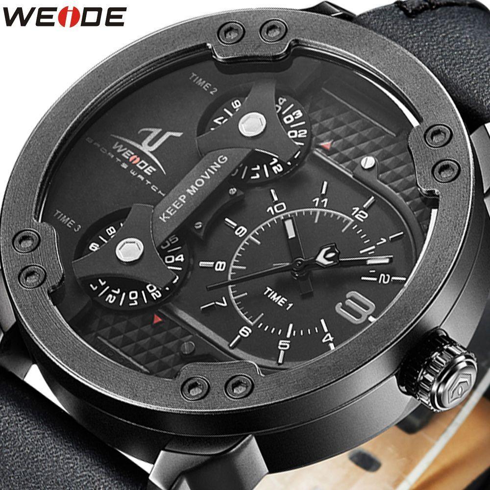 6ba47a48ddf01 Weide Brand Luxury Men Watch Genuine Leather 3 Time Zones Quartz Wristwatch  Nwt