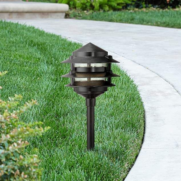 Three tier pagoda 19 1 4h black led landscape path light path lights paths and landscaping