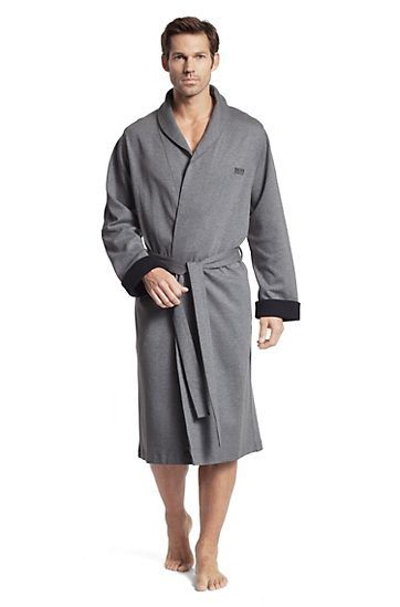 Blended cotton bathrobe 'Shawl Collar BM', Grey.  Needed....nuff said