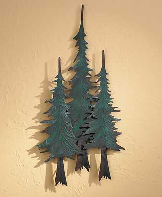Metal Pine Tree Trio Wall Sculpture