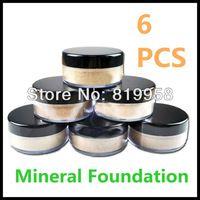 Envío gratis !!! 6 colores en una caja de polvo base mineral en polvo cosmético