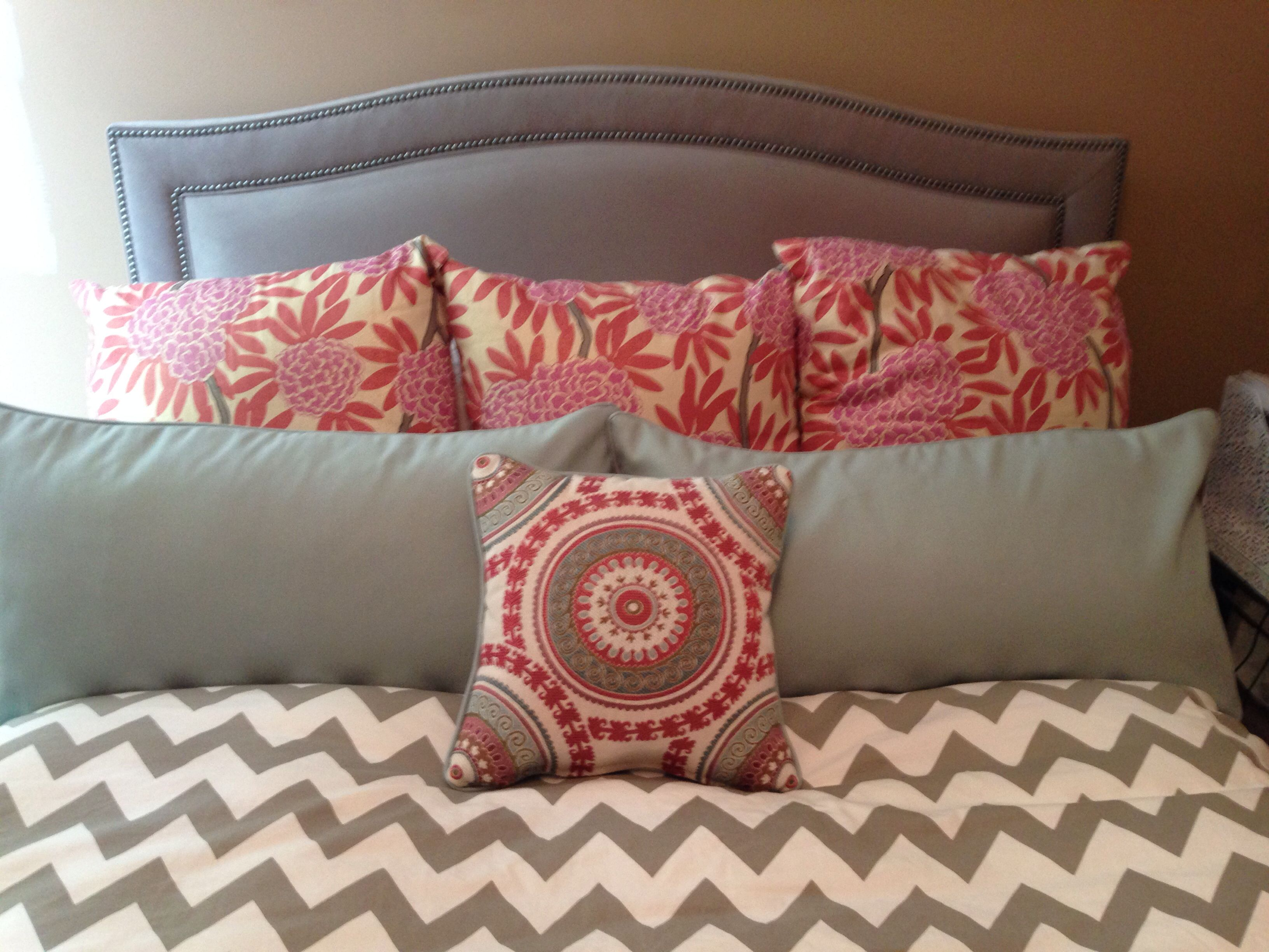 Gray upholstered bed chevron bedding Aqua coral and gray kravet