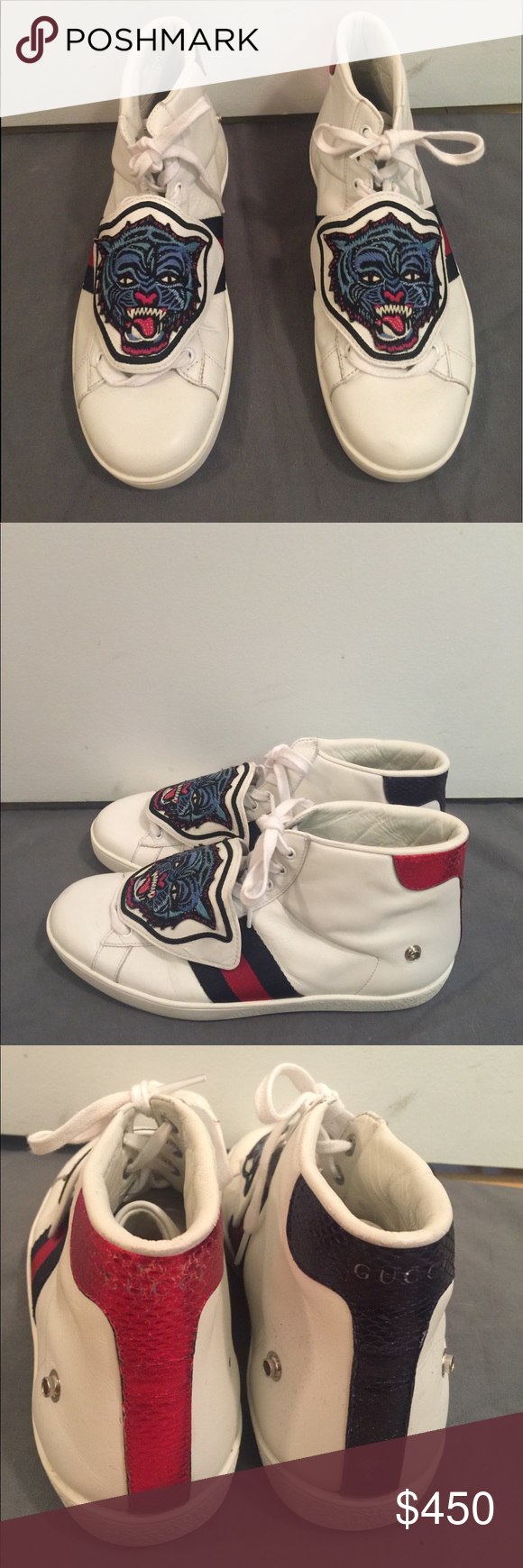 63a29cd94e2 Gucci Ace high-Top Sneakers High-top authentic Gucci Sneakers Two Removable  embroidered patches