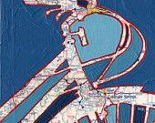 Bike Colorado Springs 13x13 bike print - bicycle art featuring Colorado Springs, Pikes Peak, Manitou Springs, Golden Colorado bike art