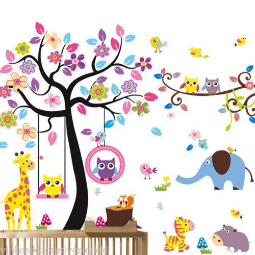 Pegatina infantil decorativa arbol buhos xxl400 160cm for Pegatinas habitacion infantil