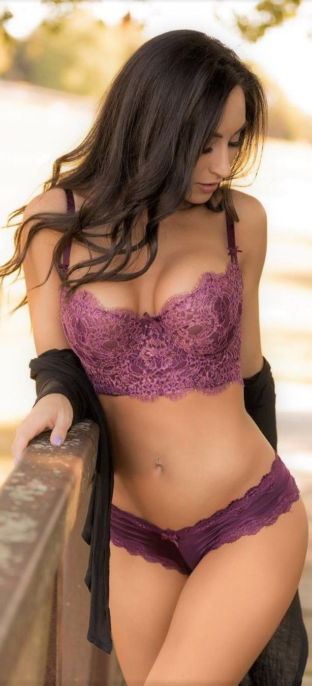 Brunette purple lingerie opinion not