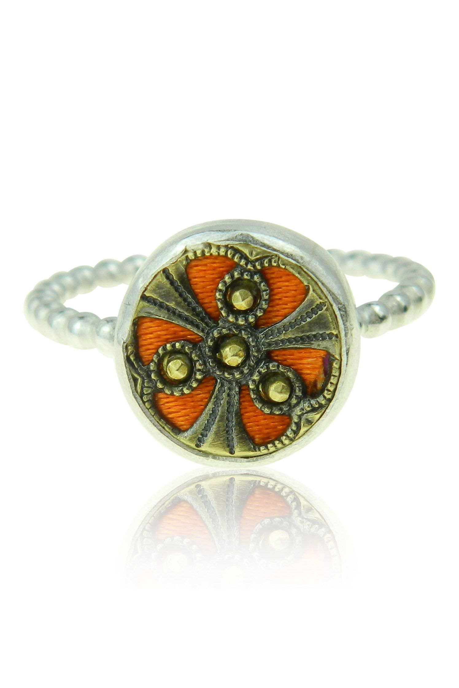 vintage button ring from Harvey and Quinn. silver