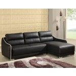 $1348.99  Chelsea Home Furniture - Black Blended Leather 2 Pc. Sectional, Armless Sofa And Chaise - 4001-BK