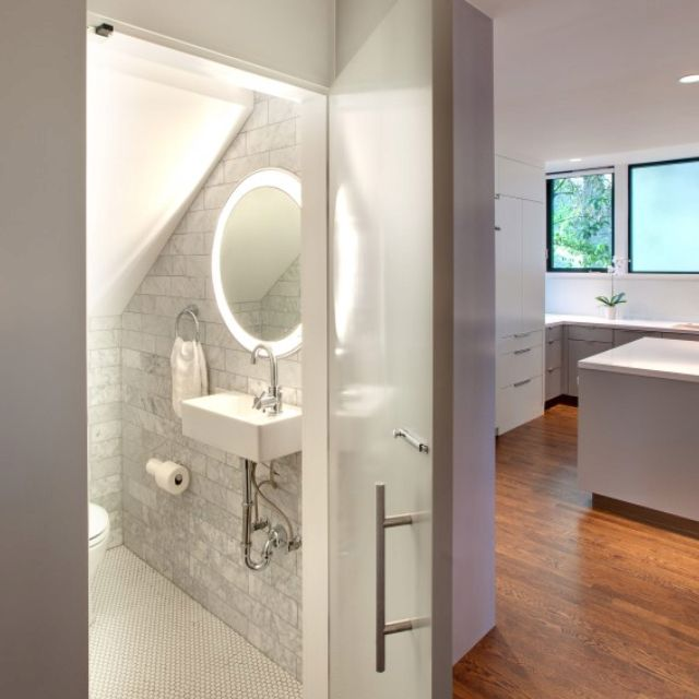 Small Bathroom Design Under Stairs: Lighting For Under-stairs Mini Bathroom, Like The Light