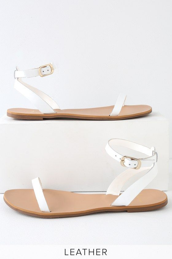 01720e0066fbc Lulus | Colette White Nappa Leather Flat Ankle Strap Sandal Heels | Size 10