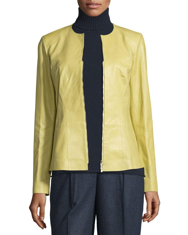 c2b798e974db Maris Split-Neck Lambskin Leather Jacket, Plantain, Women's, Size: 6 - Lafayette  148 New York