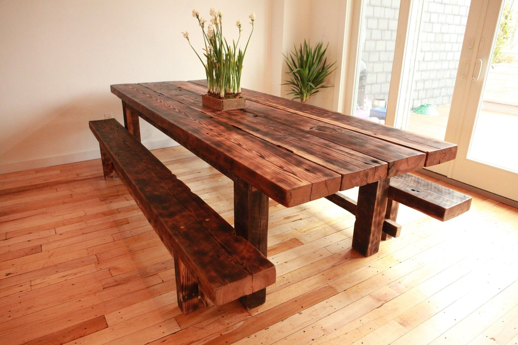 Square Furniture Dining Room Varnished Iron Wood Long Dining Table Added  Double Bench Placed On Overlay