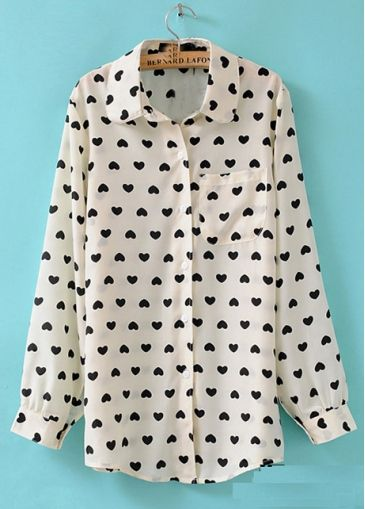 Casual Hearts Pattern Turndown Collar Long Sleeve Blouse