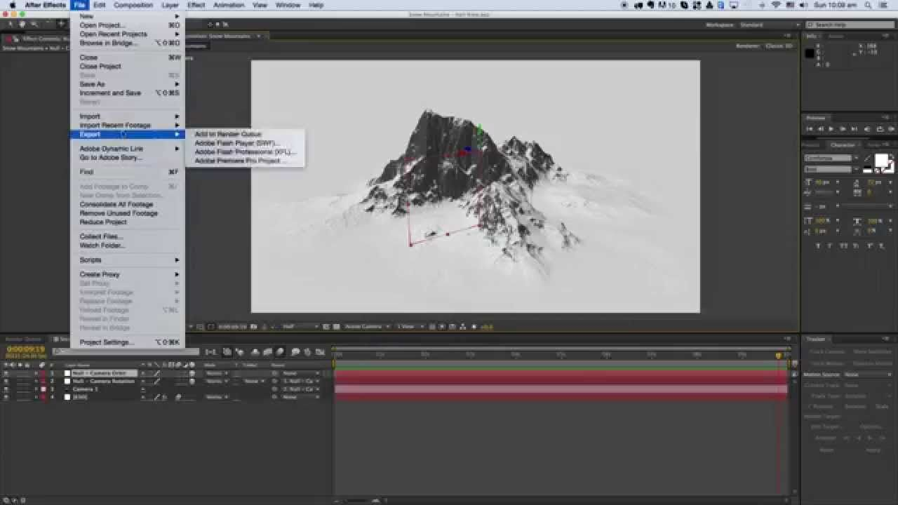 Snow Mountains Heli View - After Effects, Element 3D and