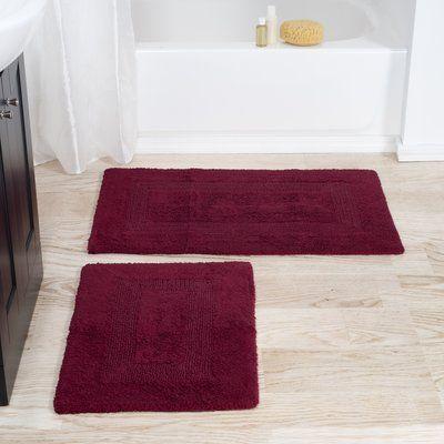 Lavish Home Reversible 2 Piece Bath Rug Color Burgundy Bath Rugs