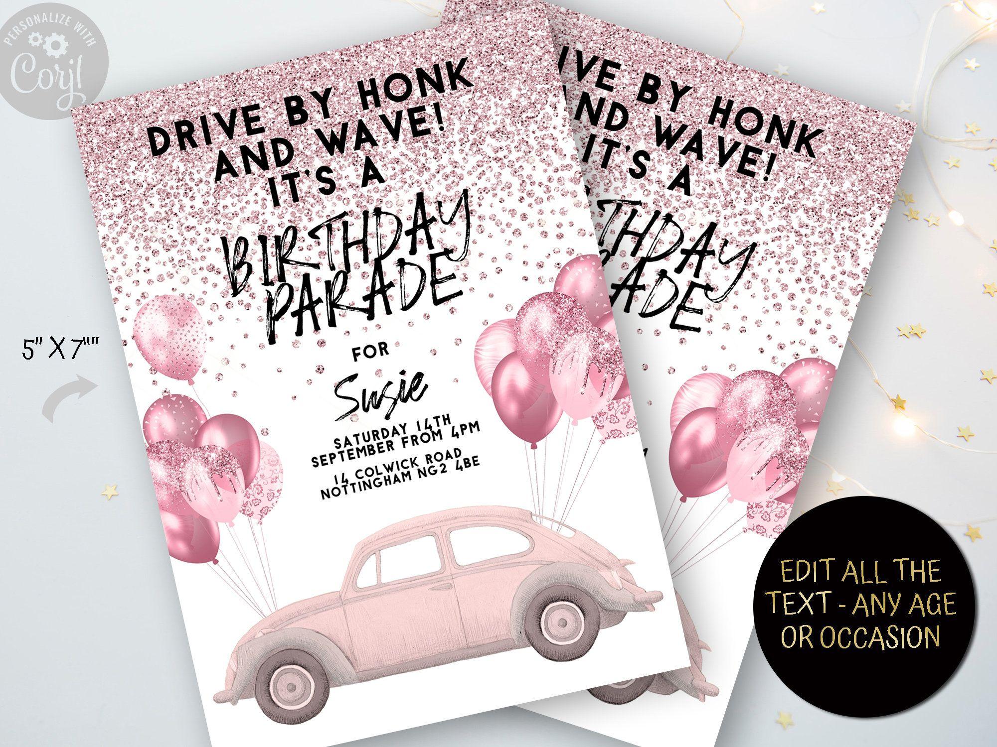 Drive By Birthday Invitation Celebrately in 2020 Pink