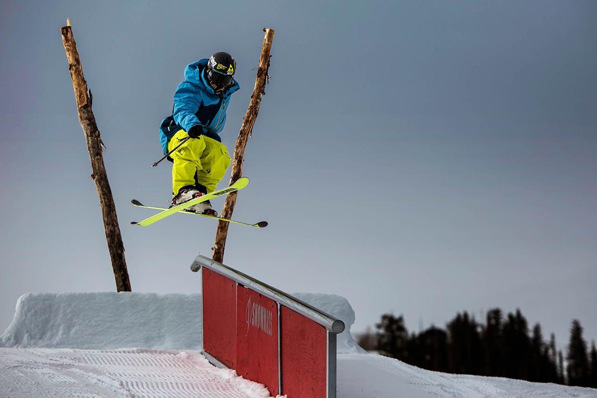 led lit rail jam angel fire resort skiing snowboarding
