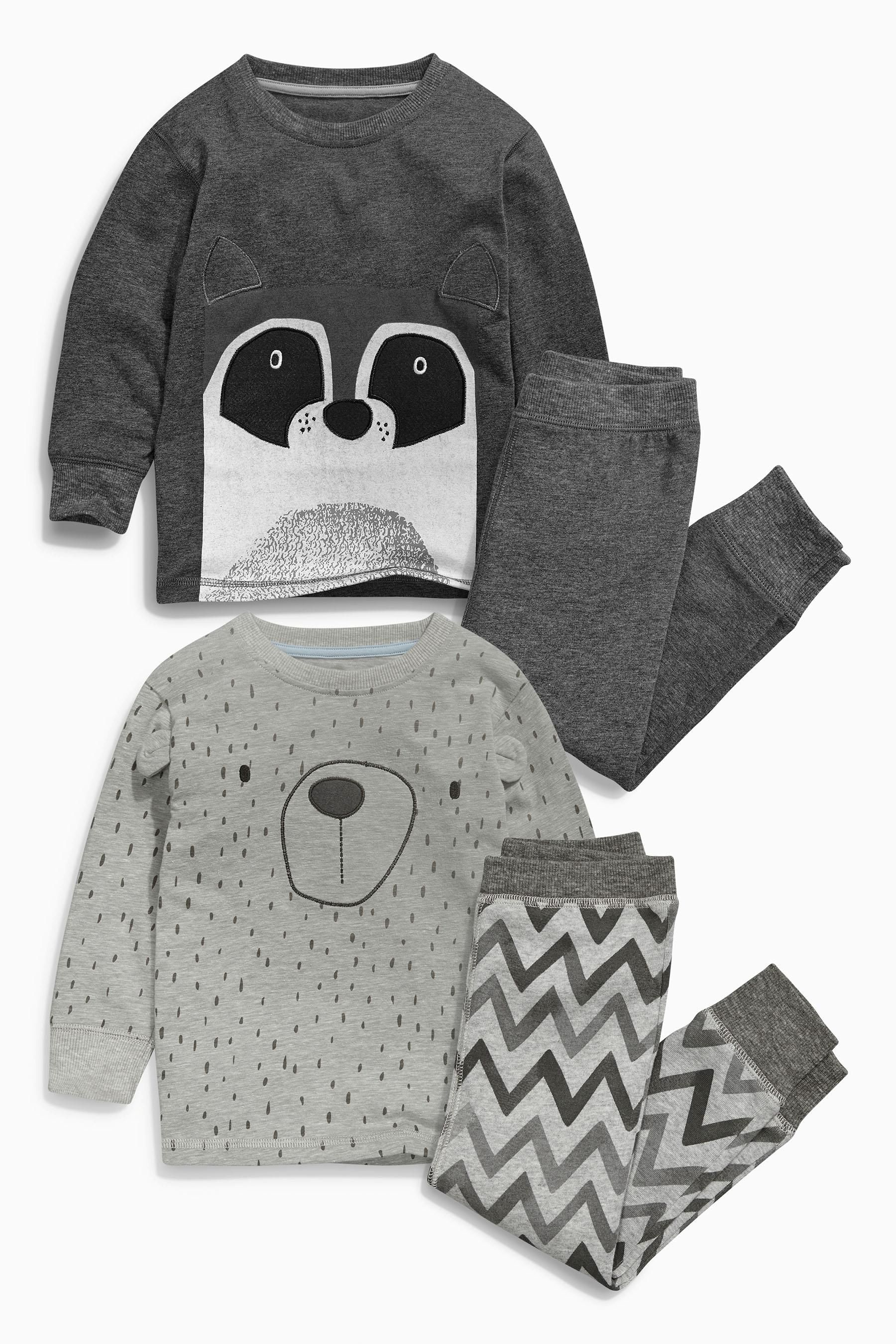 Buy Two Pack Grey Racoon Snuggle Fit Pyjamas 9mths 8yrs from the