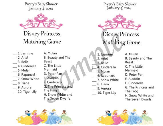 Disney Princess Baby Shower Theme Game By TutuCutsys On Etsy, $20.00