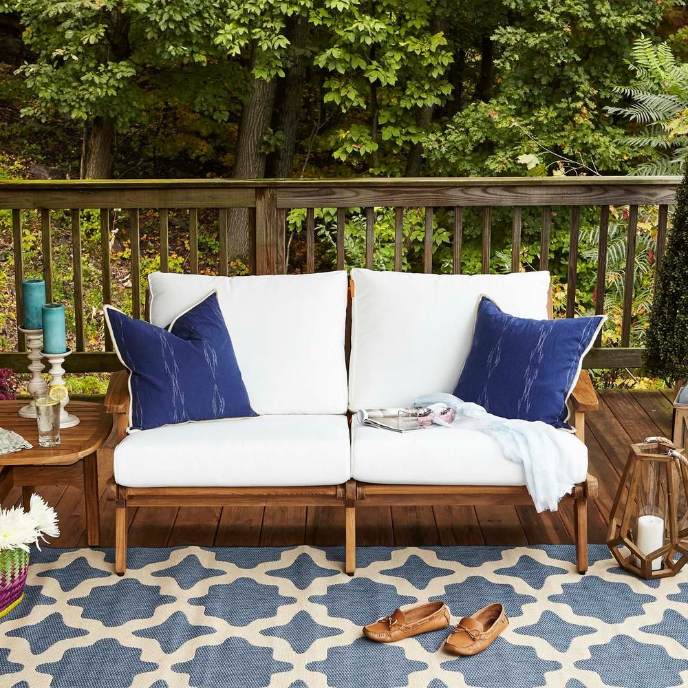 Modway Saratoga Teak Outdoor Loveseat In Natural With White Cushions Eei 2932 Nat Whi The Home Depot Teak Patio Furniture Backyard Furniture Outdoor Loveseat