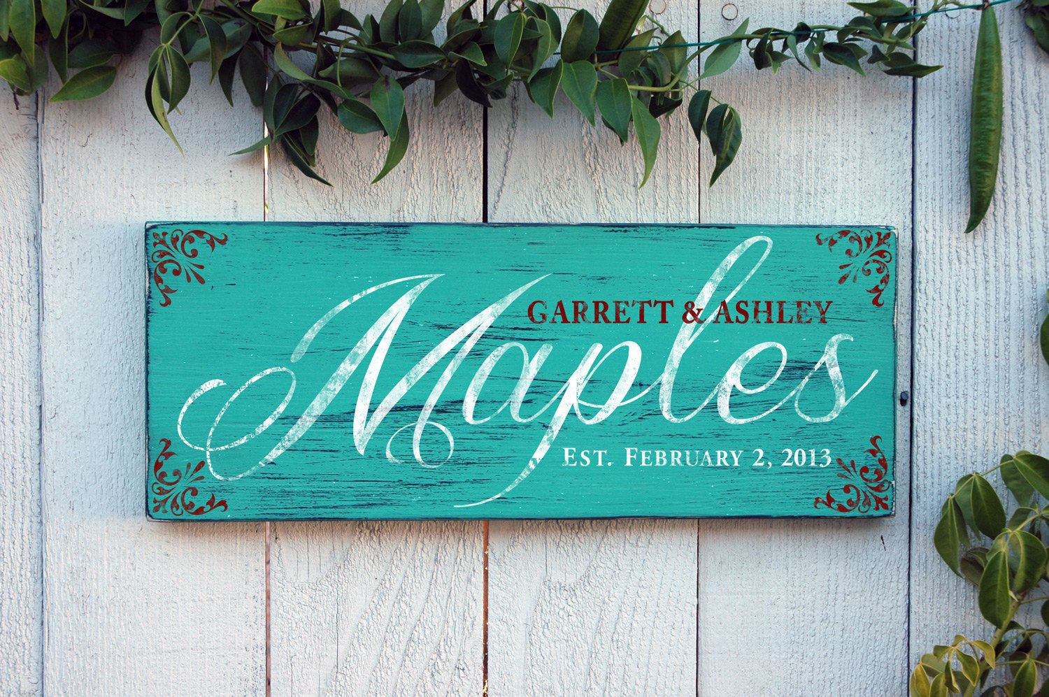 personalized last name signs aqua green rustic - love this idea