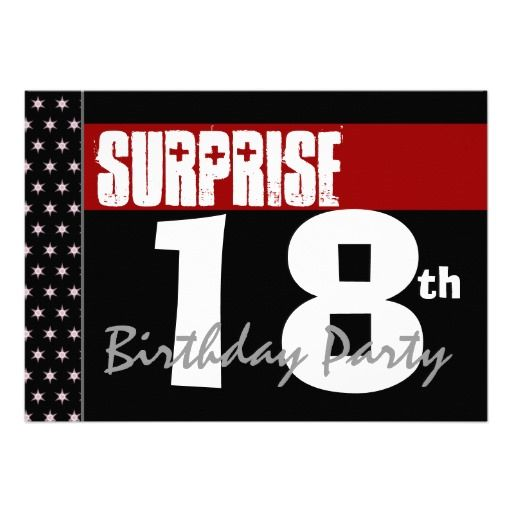Surprise 18th Birthday Party Modern Black And Red Custom Invites