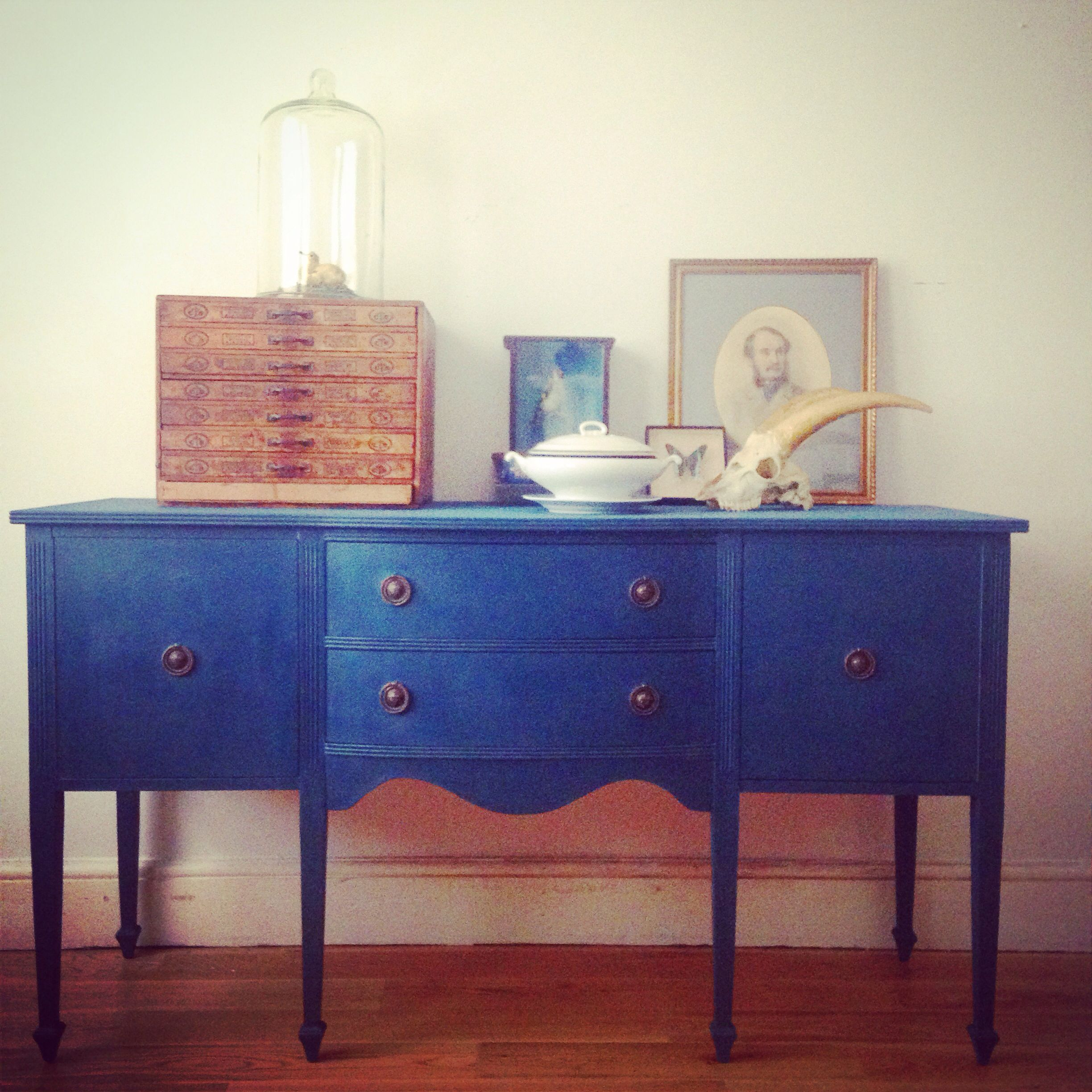Georgian style sideboard transformed with Annie Sloan Chalk Paint TM in Aubusson Blue finished with clear wax. From Find of Temple Bar Dublin.