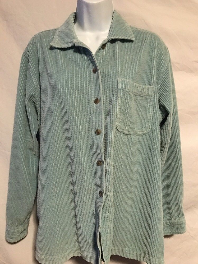 ec9bee96f5a L.L. Bean Women Medium Light Blue Thick Corduroy Cotton Button Down Shirt
