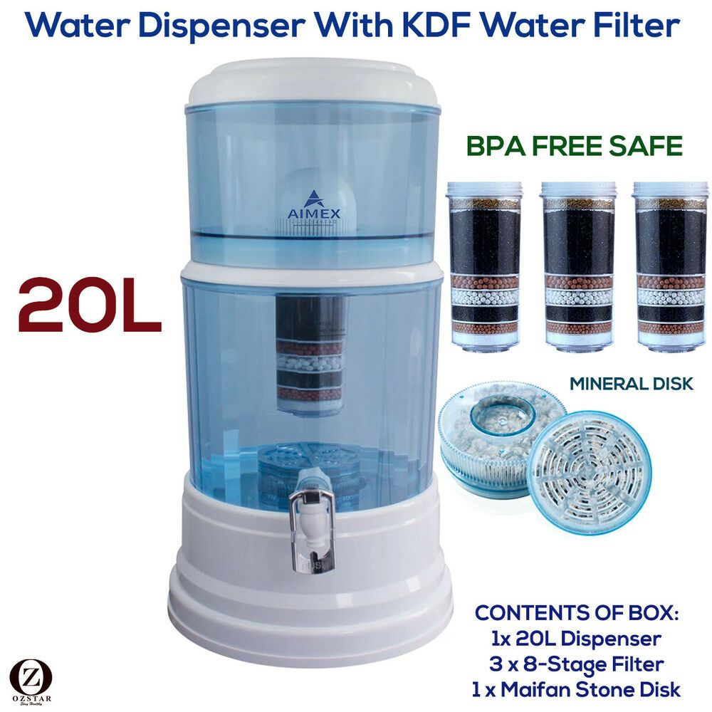 Aimex Water Purifier 8 Stage Water Filter Dispenser 20l Maifan Stone 3 Filters Aimex In 2020 Fluoride Water Filter Fluoride Water Countertop Water Filter
