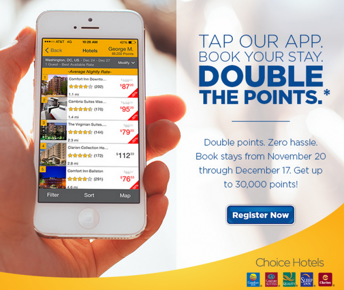 Choice Hotels Is Offering Double Privileges Points For Stays Consumed Between November 20 December That Are Booked Using S